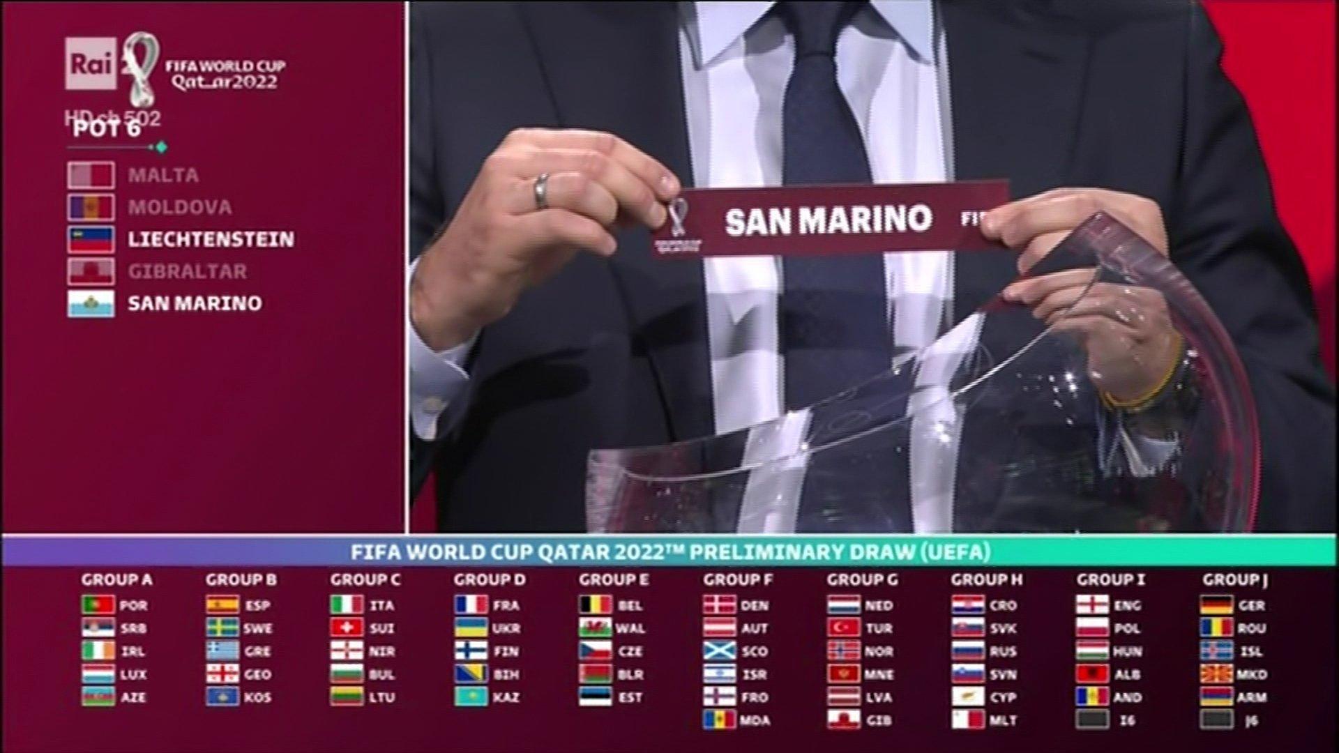 Sorteggio qualificazioni Mondiali Qatar 2022 in tv su Rai Due