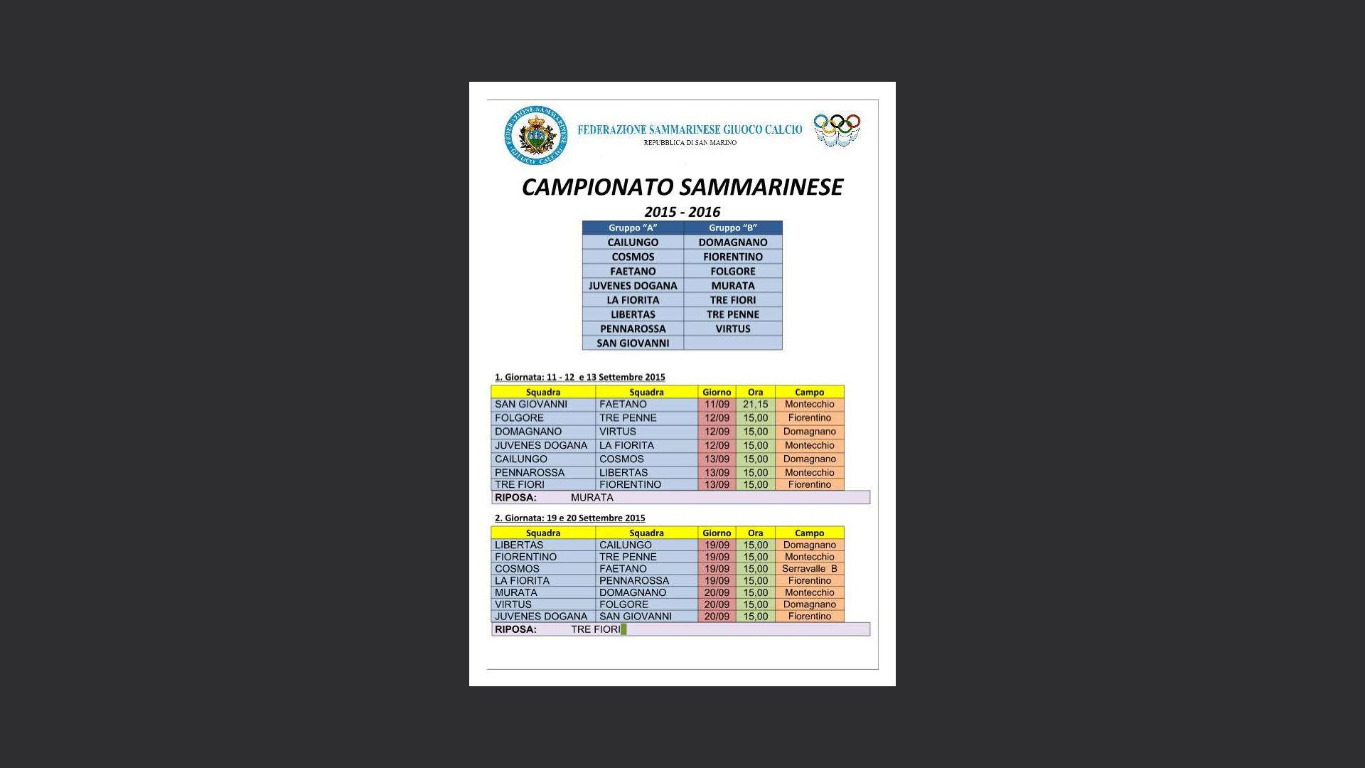 Calendario Campionato Calcio.Campionato Sammarinese 2015 2016 Il Calendario Completo