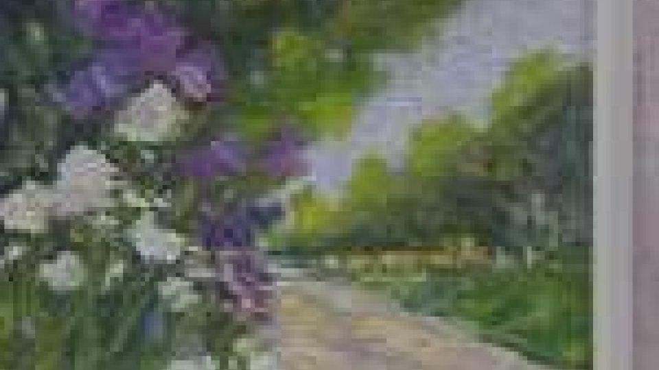 Una tela di Mirna Guiducci esposta al Centro Sociale di DoganaMirna Guiducci e Franca Fabbri a San Marino