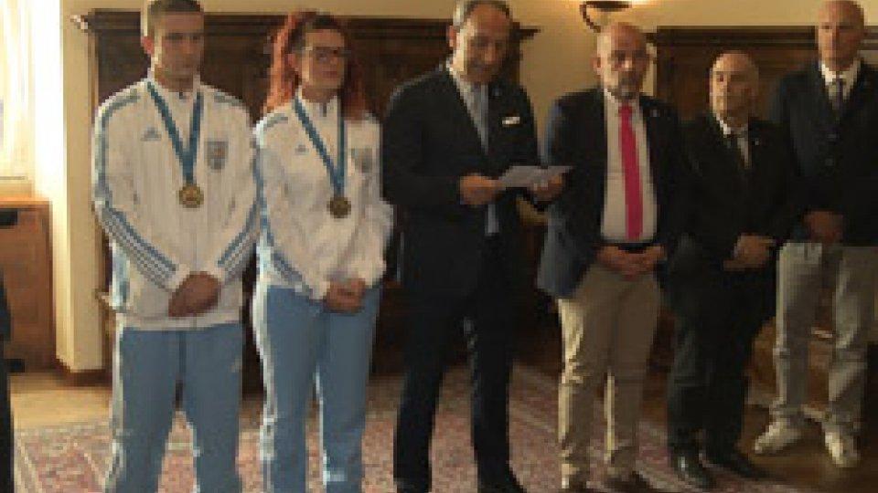 l'Udienza a PalazzoLa  Reggenza riceve le due medaglie d'oro di Tarragona 2018