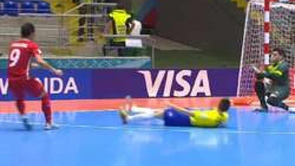 Uno scatto del matchFutsal, clamoroso ai Mondiali: l'Iran fa fuori il Brasile
