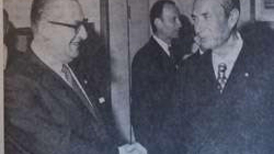 """Aldo Moro e Federico BigiLo statista Aldo Moro firmò l'accordo con S.Marino che trasformò l'amicizia """"protettrice"""" in """"ampia cooperazione"""""""