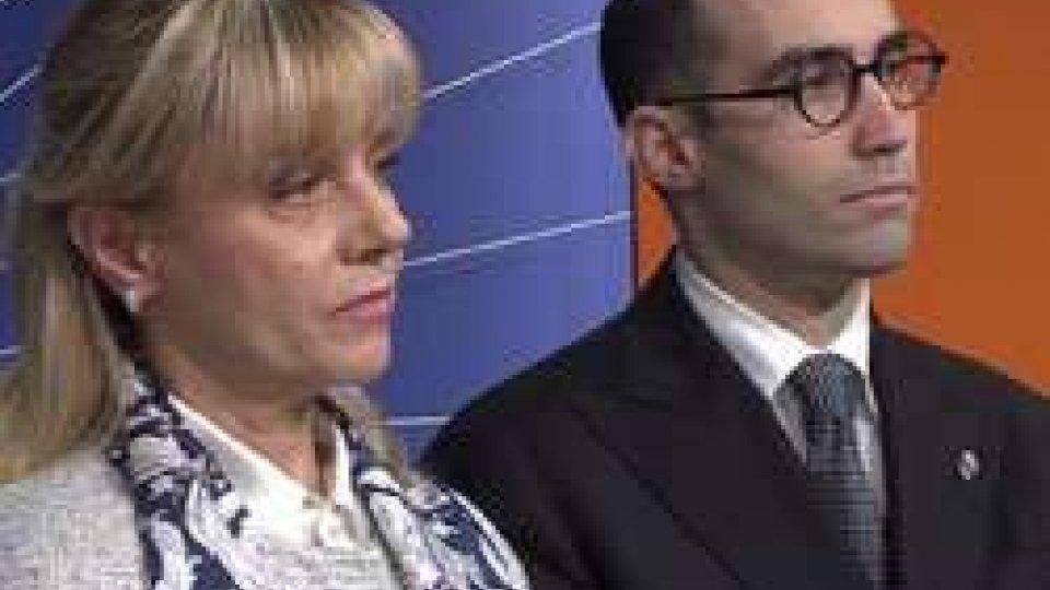 Lorella Stefanelli e Nicola RenziLa Reggenza in visita alla San Marino RTV