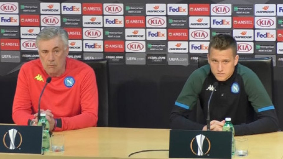 Ancelotti e ZielinskiEuropa League, Napoli-Salisburgo: Ancelotti e Zielinski in conferenza stampa
