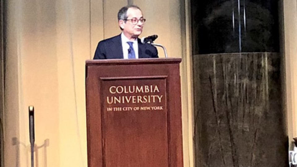 Il ministro Giovanni Tria alla Columbia University