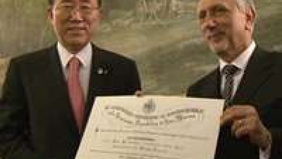 1° aprile: Ban Ki-moon a colloquio con i segretari Valentini, Felici e Fiorini