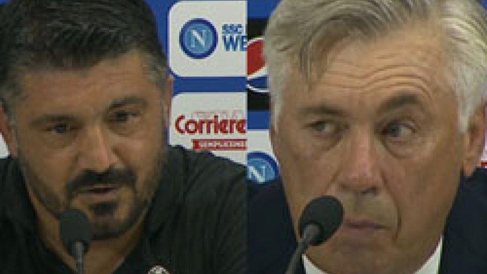 Gattuso - AncellottiGattuso: siamo spariti dopo il 2 a 1, Ancelotti elogia il pubblico del San Paolo