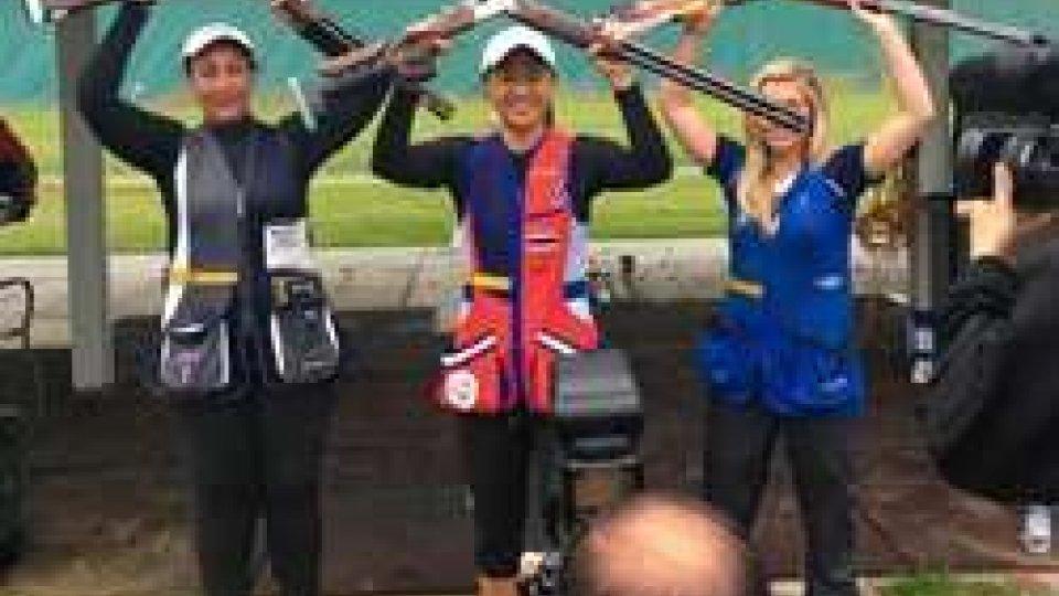 Diana Bacosi, Sutiya Jiewchaloemmit e Amber HillCoppa del mondo di tiro a volo: lo skeet alla Jiewchaloemmit