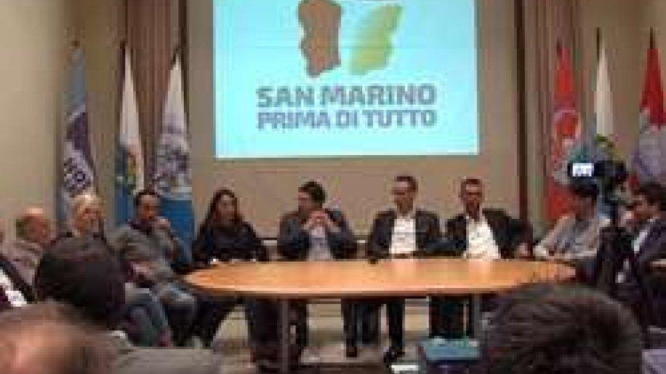 """La presentazione di """"San Marino Prima di Tutto""""""""San Marino prima di tutto"""". La coalizione con Dc, Psd, Ps, Ns, Sammarinesi senza confini e Denise Bronzetti"""