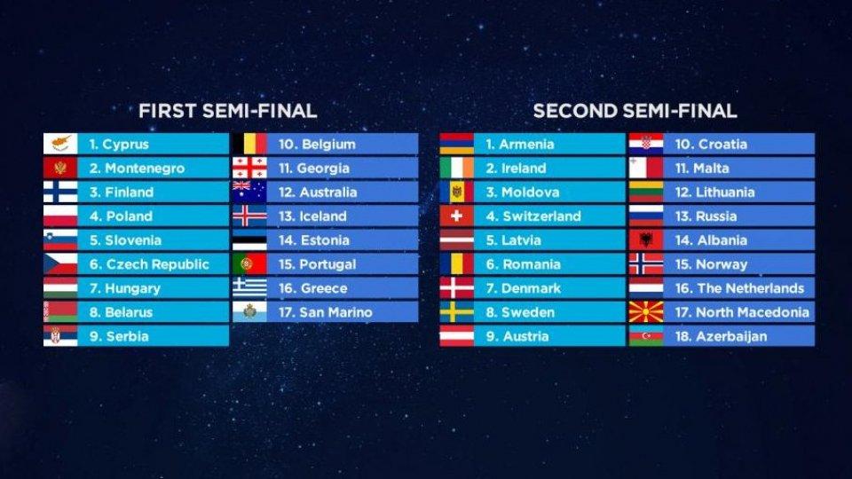 Eurovision Song Contest: San Marino canterà per ultima nella prima semifinale