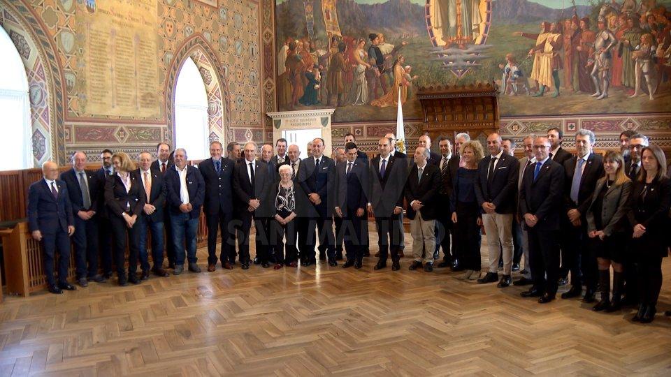 La delegazione a Palazzo PubblicoI 60 anni del CONS celebrati al Palazzo Pubblico