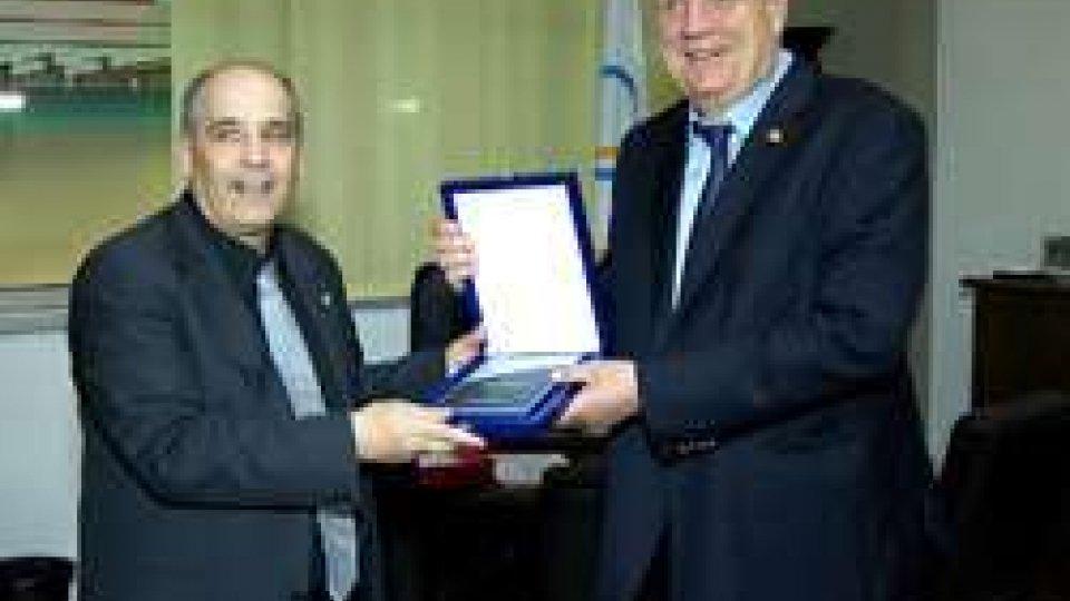 Eros Bologna e Svein Arne HansenAtletica, il presidente dell'Associazione Europea Hansen in visita a San Marino