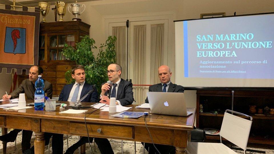 """Segreteria Esteri, """"San Marino verso l'Unione europea"""": ieri sera la prima serata pubblica nel Castello di Chiesanuova"""
