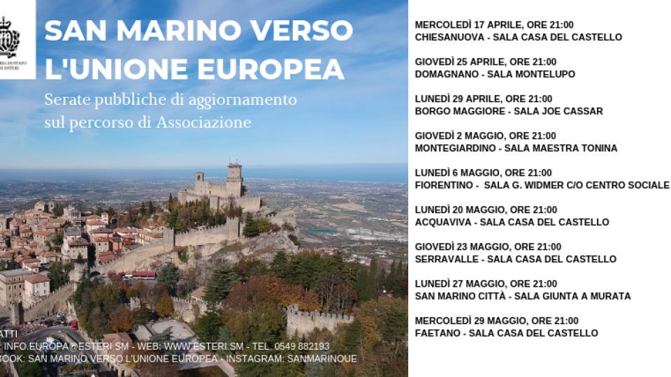 San Marino verso l'Unione europea: lunedì 29 aprile alla Sala Joe Cassar di Borgo Maggiore