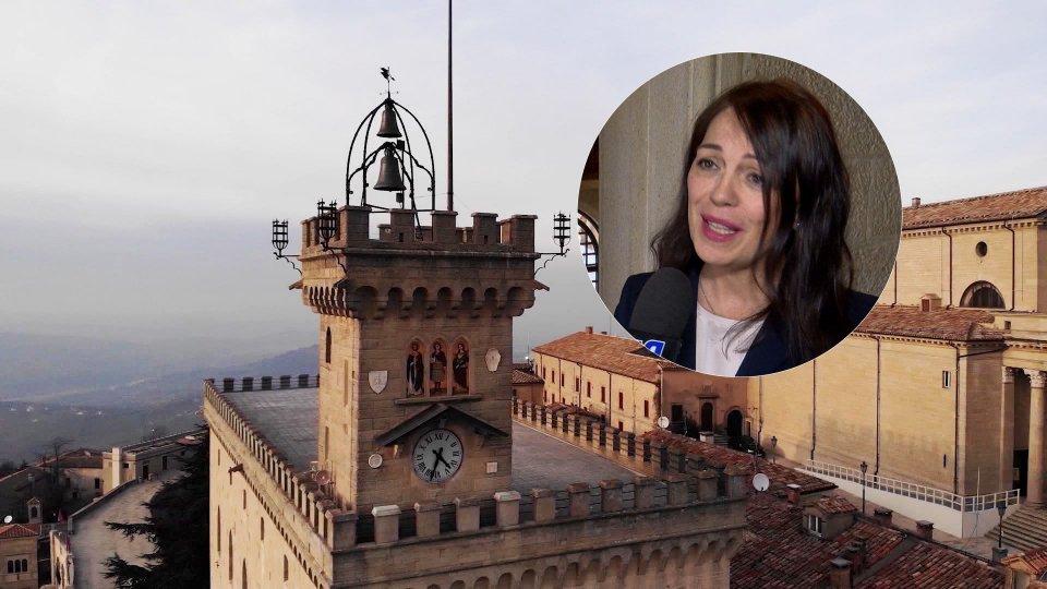 Nel tondino, Eva Guidi (Segretario di Stato Finanze e Bilancio)Liquidità, nel video l'intervista al Segretario Eva Guidi