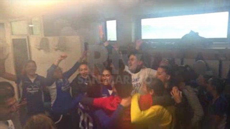 I festeggiamenti della San Marino AcademyStorica promozione in serie B per la San Marino Academy che batte 2-0 la Riozzese nello spareggio