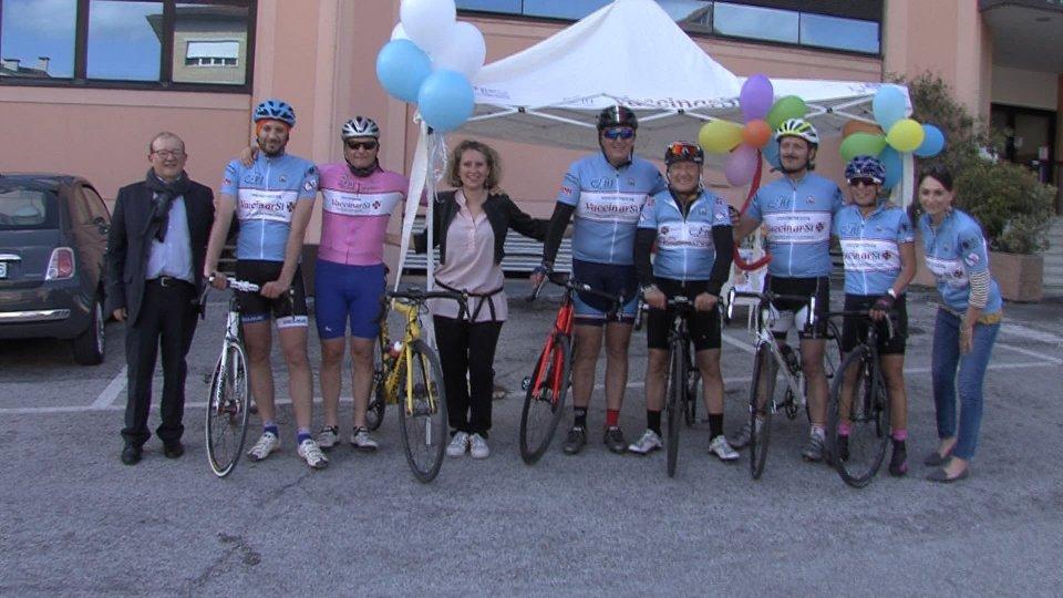 L'arrivo dei ciclisti