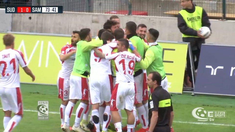 SudTirol- Sambenedettese 1-0Il Sudtirol supera per 1 a 0 la Sambenedettese e si qualifica per il secondo turno dei play-off