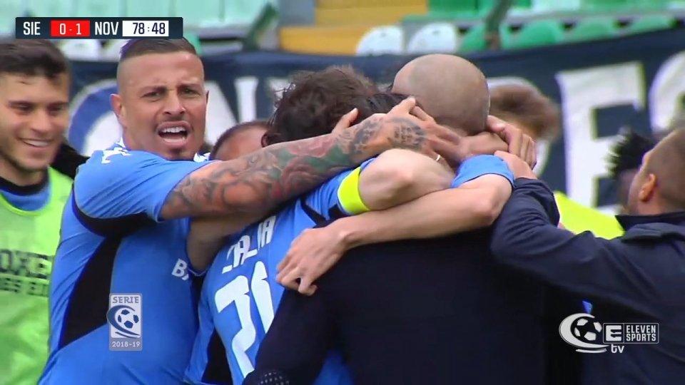 Il Novara vince a Siena e passa: Cacia sigla l'1-0