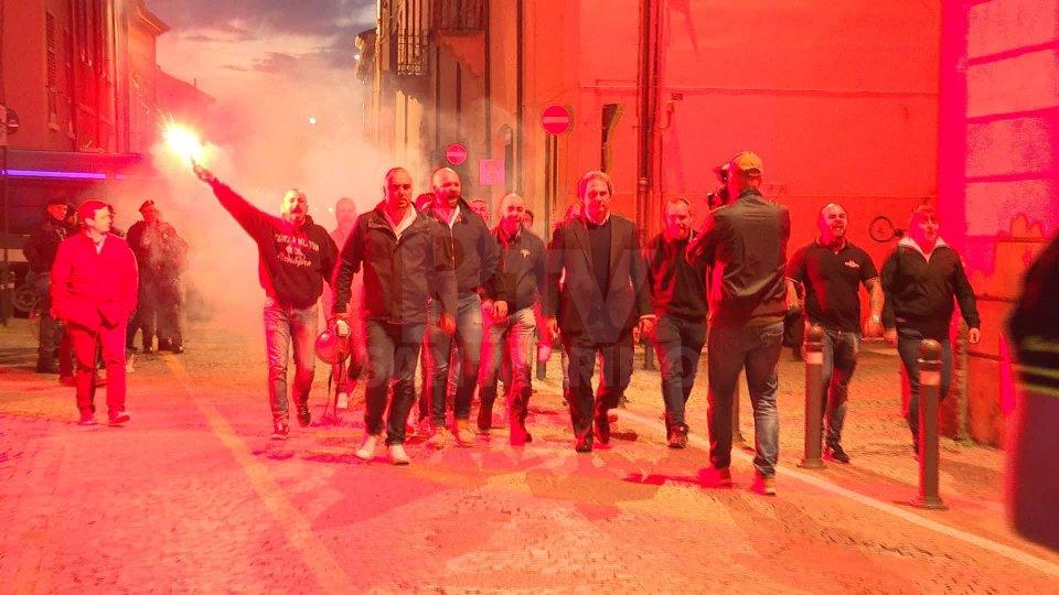 l'arrivo di Forza Nuovale immagini dei cortei in centro a Rimini