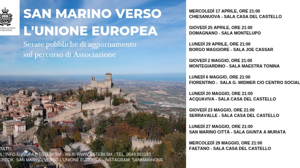 San Marino verso l'Unione europea: giovedì 23 maggio alla Casa del Castello di Serravalle
