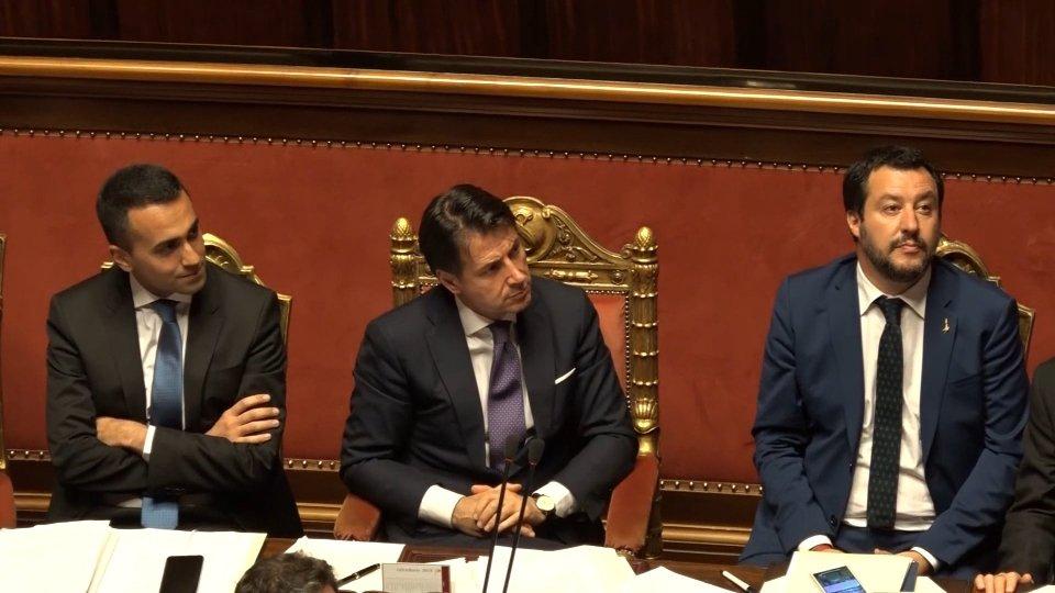 Luigi Di Maio, Giuseppe Conte, Matteo Salvinii commenti dopo il discorso del premier