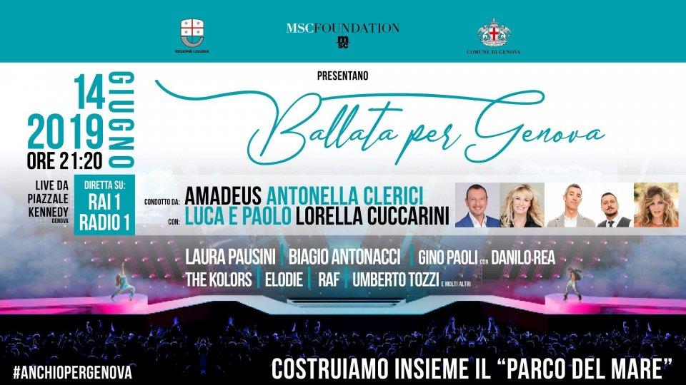 Gli artisti di Ballata per Genova in tv venerdì