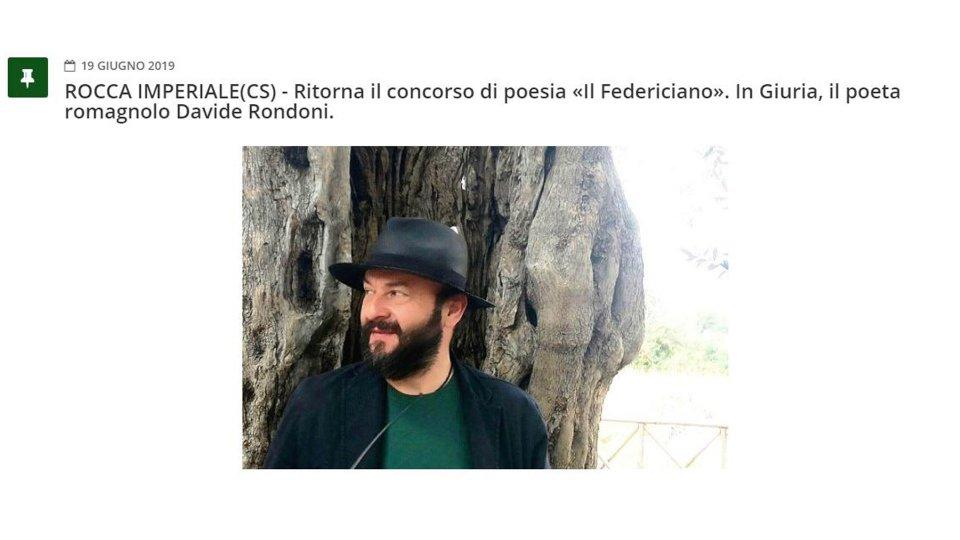 Ritorna il concorso di poesia «Il Federiciano». In Giuria, il poeta romagnolo Davide Rondoni