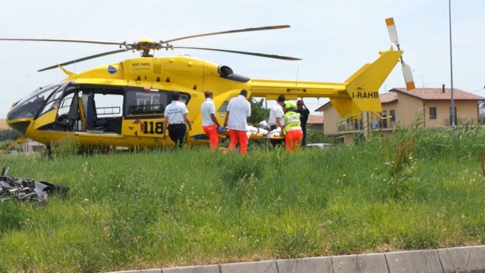 l'elisoccorso a San Giovanni in MarignanoLe immagini degli incidenti