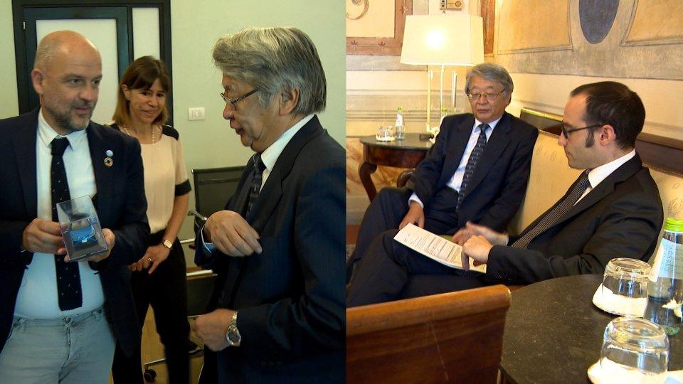 Keiichi Katakami con i segretari Podeschi e RenziGli incontri bilaterali
