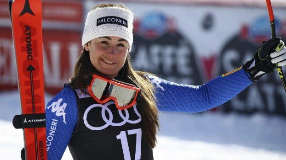 La campionessa olimpica Sofia Goggia e il presidente FISI Flavio Roda mercoledì sul Titano