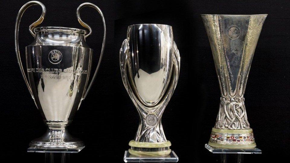 Le coppe europee. Credit UEFA