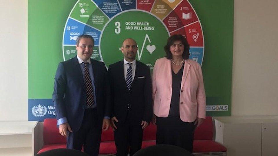 Incontro tra il Segretario di Stato per la Sanità Franco Santi e  la candidata georgiana per la Direzione Regionale dell'OMS per l'Europa Dr. Nata Menabde