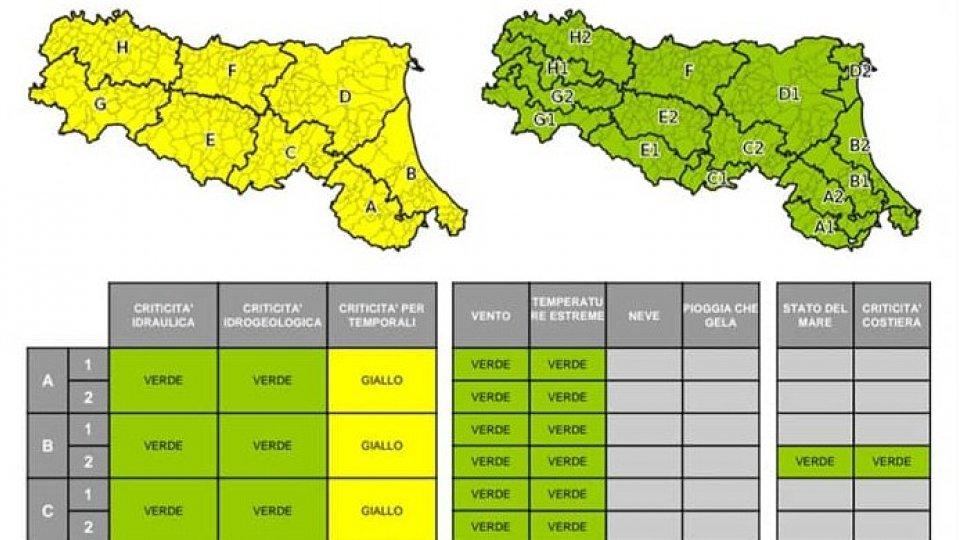 Emilia-Romagna: allerta gialla per piogge e temporali