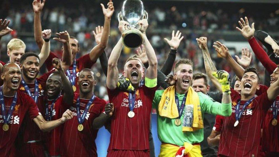 I festeggiamenti del Liverpool. Foto ansa