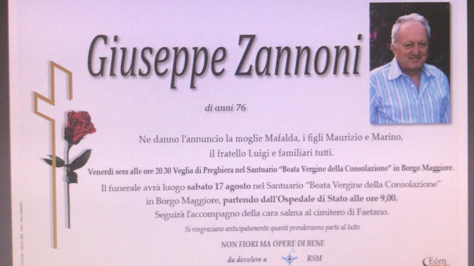È morto Giuseppe Zannoni. Le condoglianze della San Marino Rtv