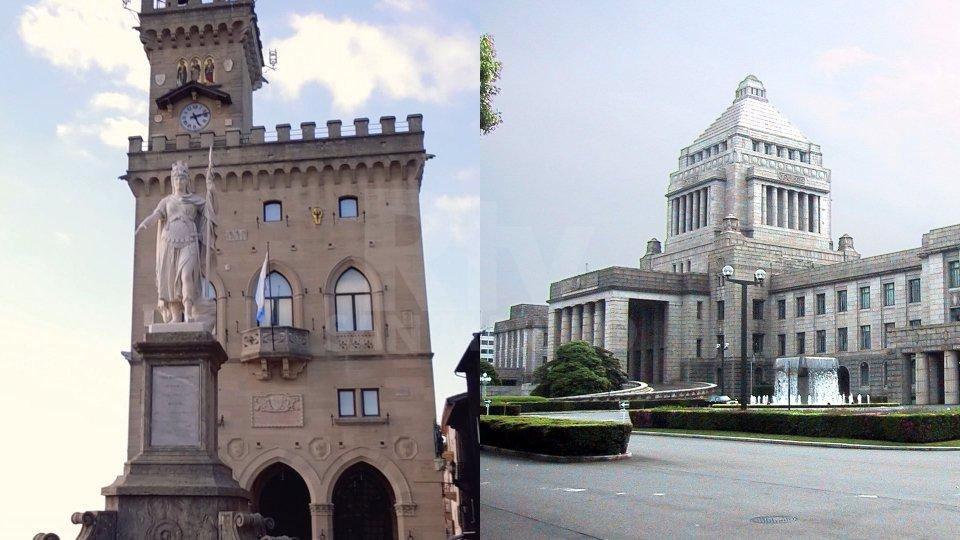 Palazzo Pubblico a San Marino e Palazzo della Dieta Nazionale a Tokyo