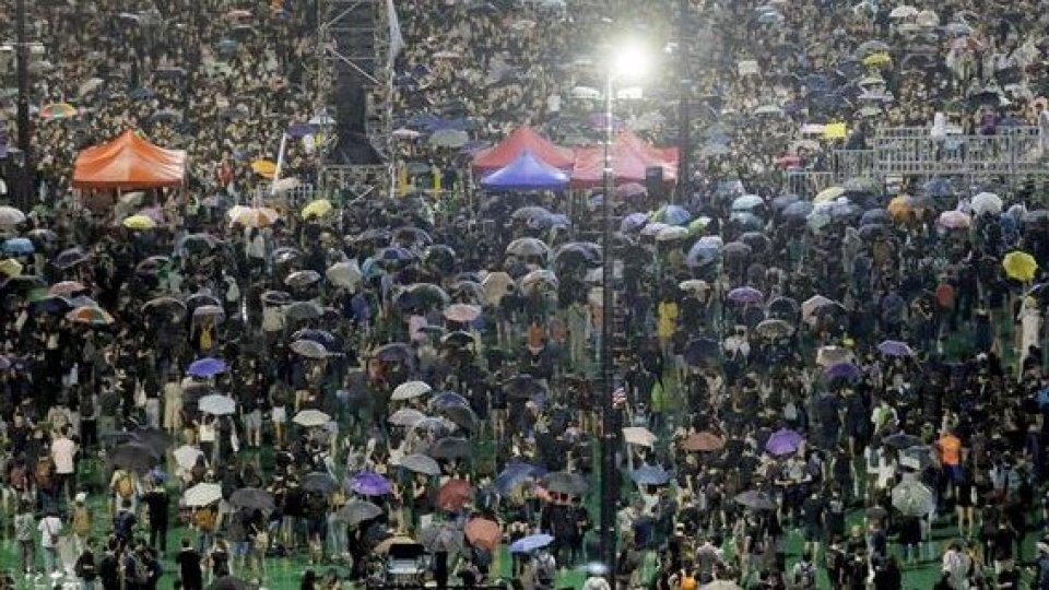 La manifestazione a Hong Kong, foto ansa