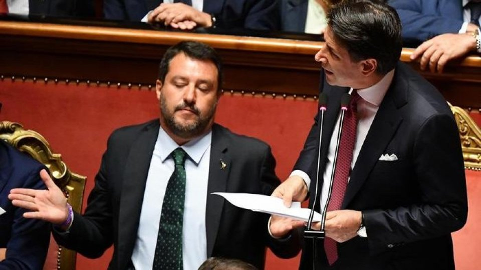Matteo Salvini e Giuseppe Conte. Foto ansa
