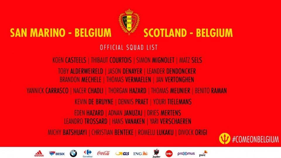 I convocati del Belgio per le sfide con San Marino e Scozia