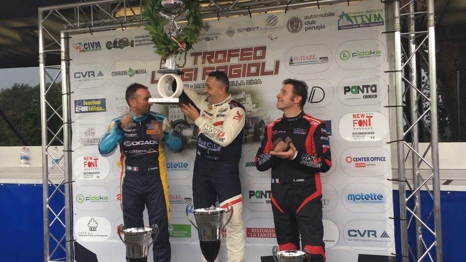 Christian Merli (Vincitore Trofeo Fagioli 2019), Simone Fagioli  (Secondo classificato) e  Piergiovanni Volpinari (Lotus Europa GT 1600)