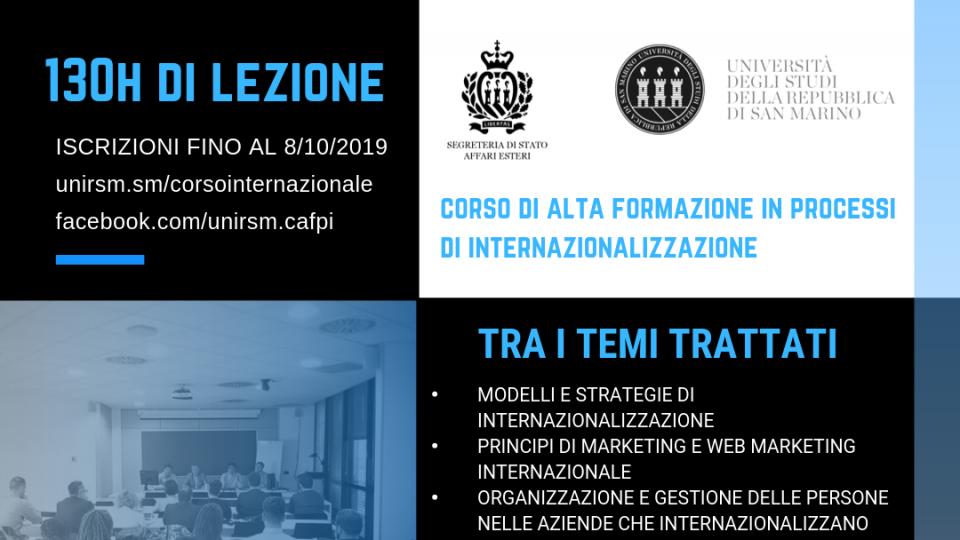 Corso di Alta Formazione UNIRSM in Processi di Internazionalizzazione: iscrizioni aperte fino all'8 ottobre 2019