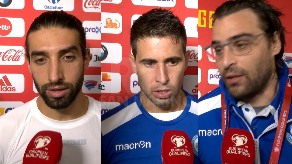 Manuel Battistini (difensore San Marino) -  Adolfo Hirsch  (centrocampista San Marino) - Davide Simoncini  (capitano San Marino)SRV_INT_BATTISTINI_HIRSCH_SIMONCINI