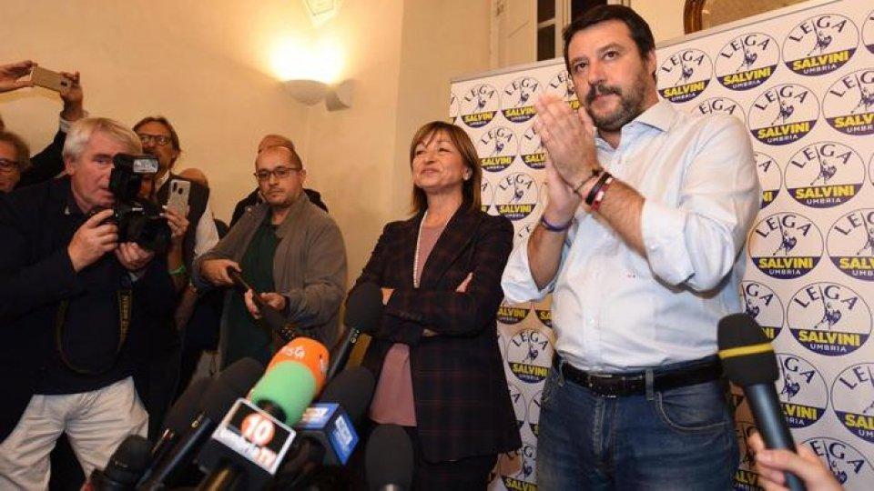 Donatella Tesei e Matteo Salvini. Foto Ansa