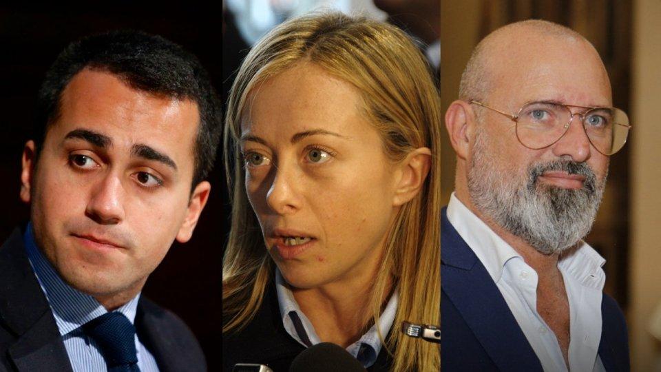 Luigi Di Maio, Giorgia Meloni e Stefano Bonaccini