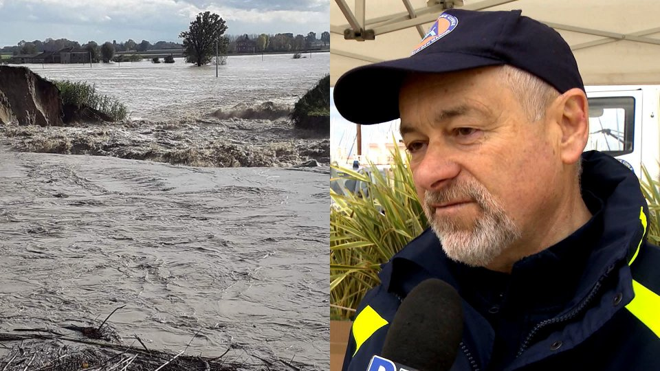 Esondazione Fiume Savio (foto @EmiliaRomagnaMeteo) e il Capo della Protezione Civile Fabio Berardi