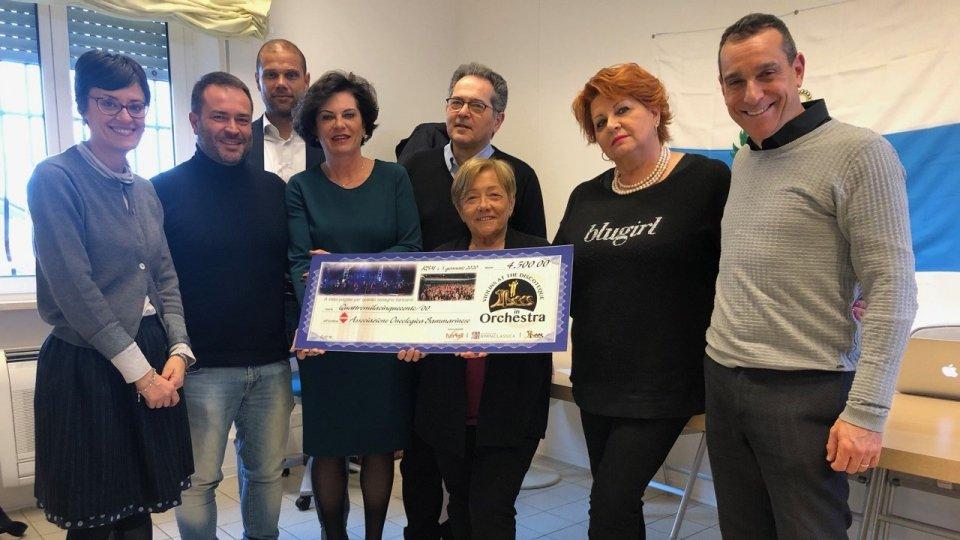 Violins at the Discoteque, consegna assegno all'Associazione Oncologica Sammarinese