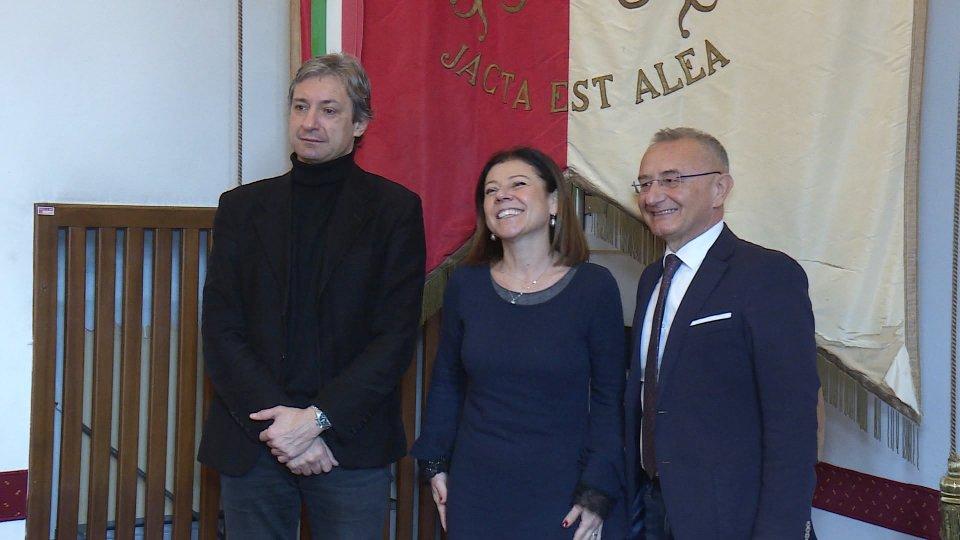 Andrea Gnassi, Paola De Micheli e Riziero Santi