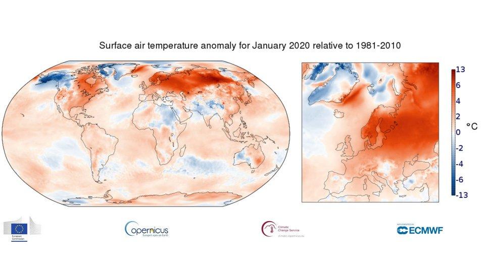 Gennaio 2020: il più caldo di sempre, + 3,1°C in Europa