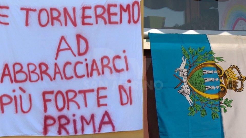 Uniti nella bandiera: sui balconi i colori della Repubblica. A Fiorentino spunta un messaggio di speranza
